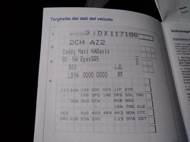 VOLKSWAGEN Caddy 2.0 Ecofuel Maxi METANO HACCP 130300 km 6